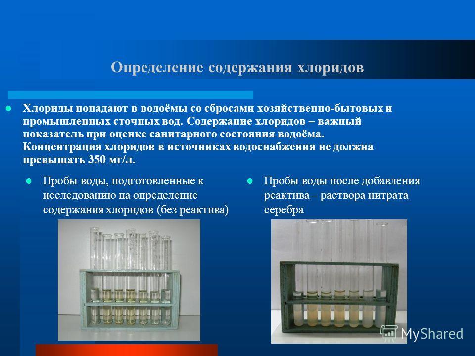 Определение содержания хлоридов Пробы воды, подготовленные к исследованию на определение содержания хлоридов (без реактива) Пробы воды после добавления реактива – раствора нитрата серебра Хлориды попадают в водоёмы со сбросами хозяйственно-бытовых и