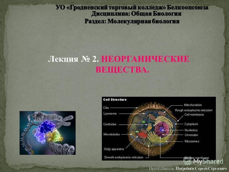 Лекция 2. НЕОРГАНИЧЕСКИЕ ВЕЩЕСТВА. 1