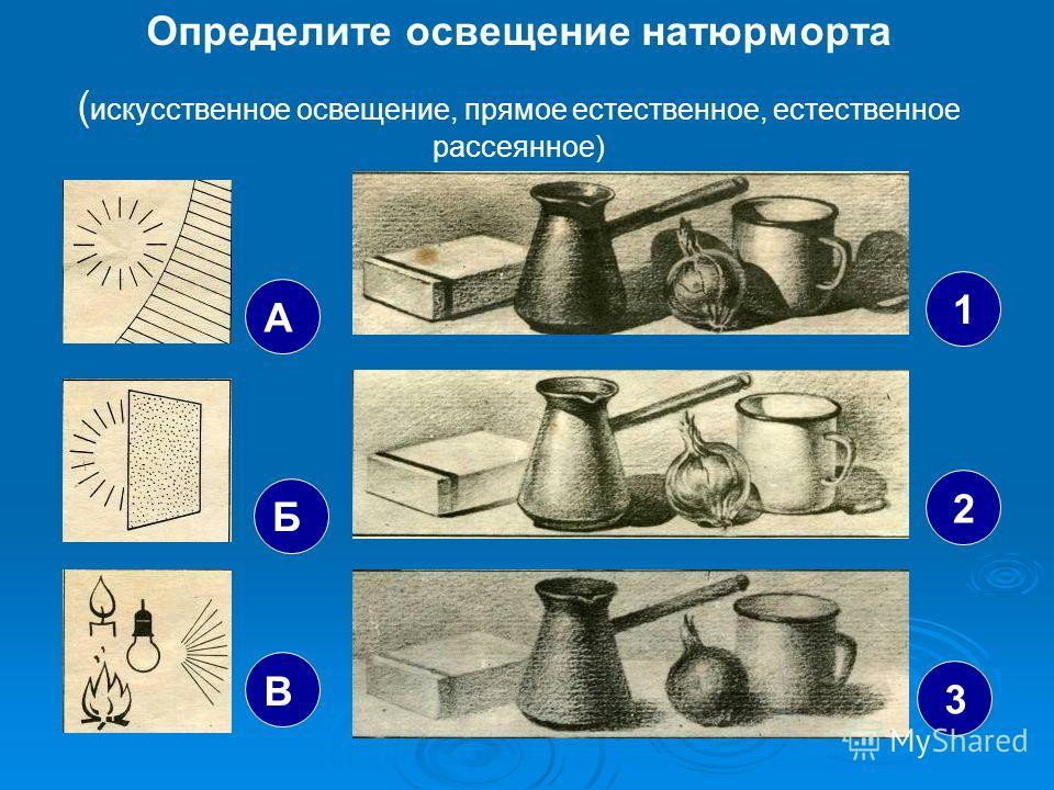 Определите освещение натюрморта ( искусственное освещение, прямое естественное, естественное рассеянное) А Б В 1 2 3