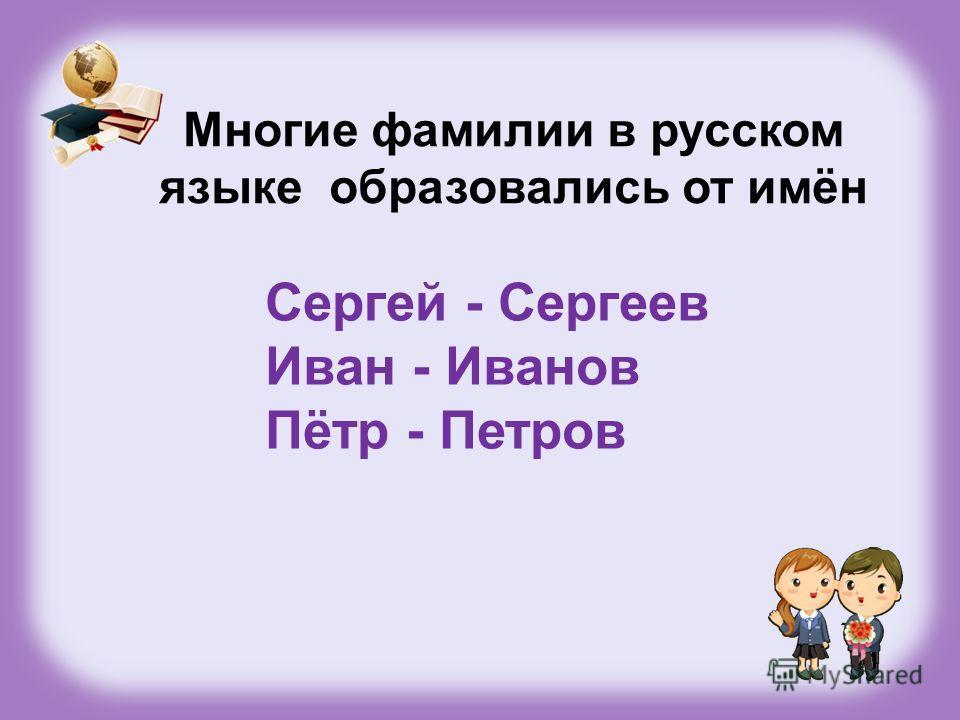 Сергей - Сергеев Иван - Иванов Пётр - Петров Многие фамилии в русском языке образовались от имён
