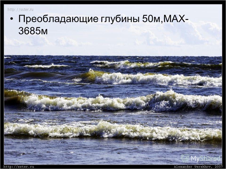 Преобладающие глубины 50м,МАХ- 3685м