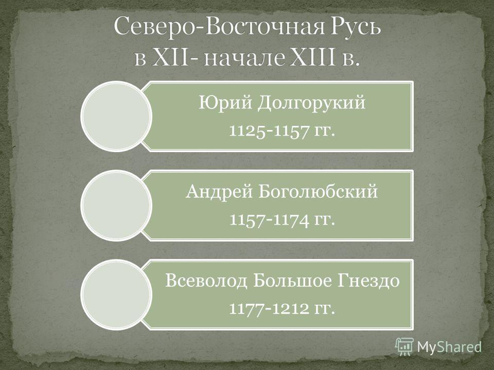 Юрий Долгорукий 1125-1157 гг. Андрей Боголюбский 1157-1174 гг. Всеволод Большое Гнездо 1177-1212 гг.