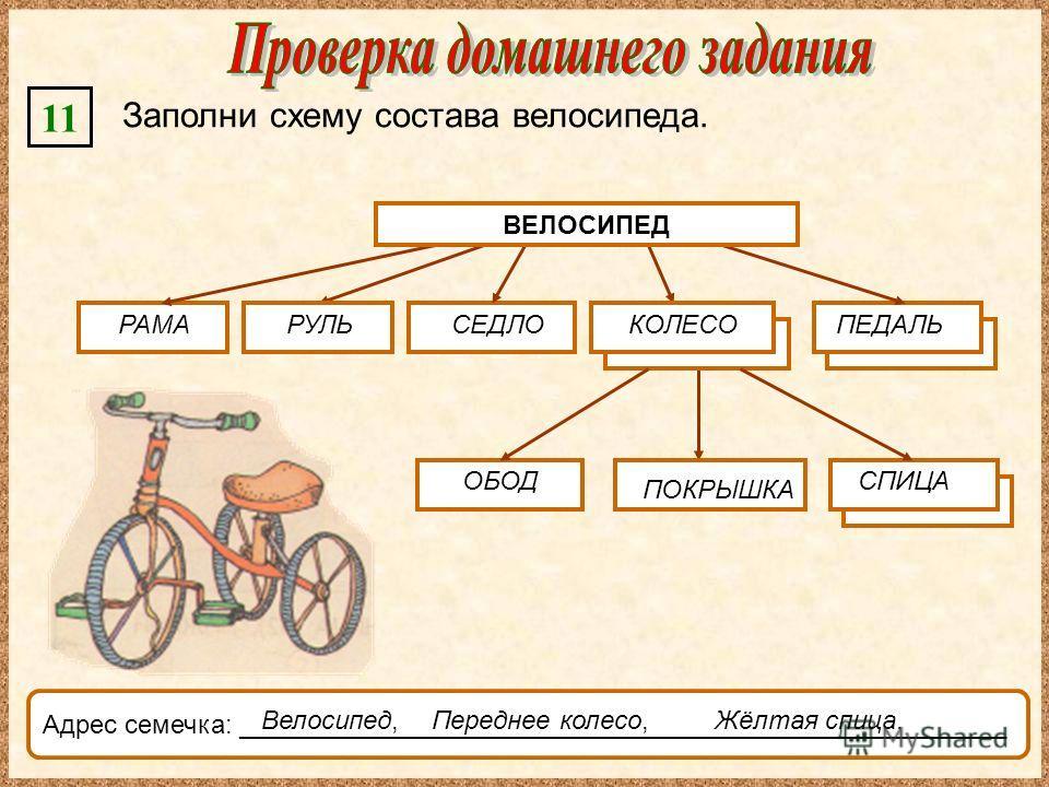 11 Заполни схему состава велосипеда. ВЕЛОСИПЕД СЕДЛО ОБОД Адрес семечка: _____________________________________________________ Переднее колесо, РАМАКОЛЕСОПЕДАЛЬ ПОКРЫШКА СПИЦА Велосипед,Жёлтая спица. ВЕЛОСИПЕД РУЛЬ