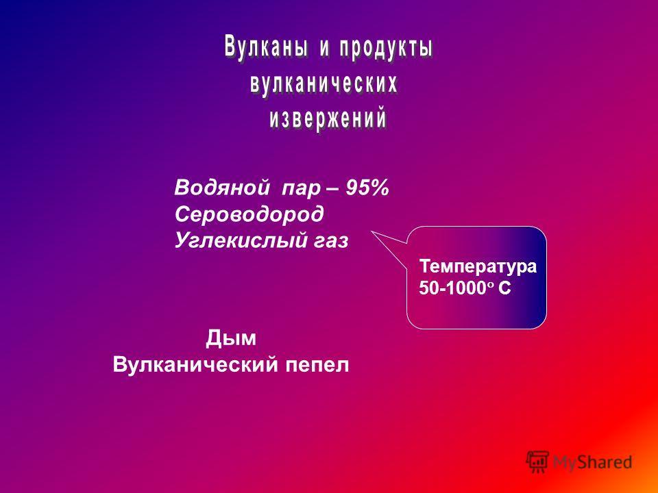Водяной пар – 95% Сероводород Углекислый газ Температура 50-1000 С Дым Вулканический пепел