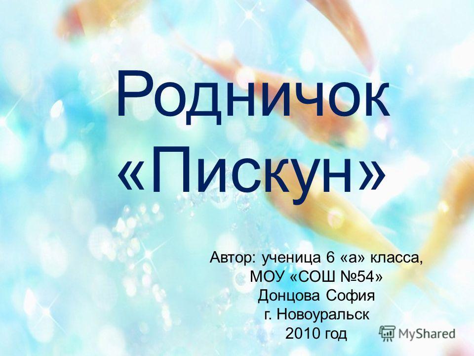Родничок «Пискун» Автор: ученица 6 «а» класса, МОУ «СОШ 54» Донцова София г. Новоуральск 2010 год