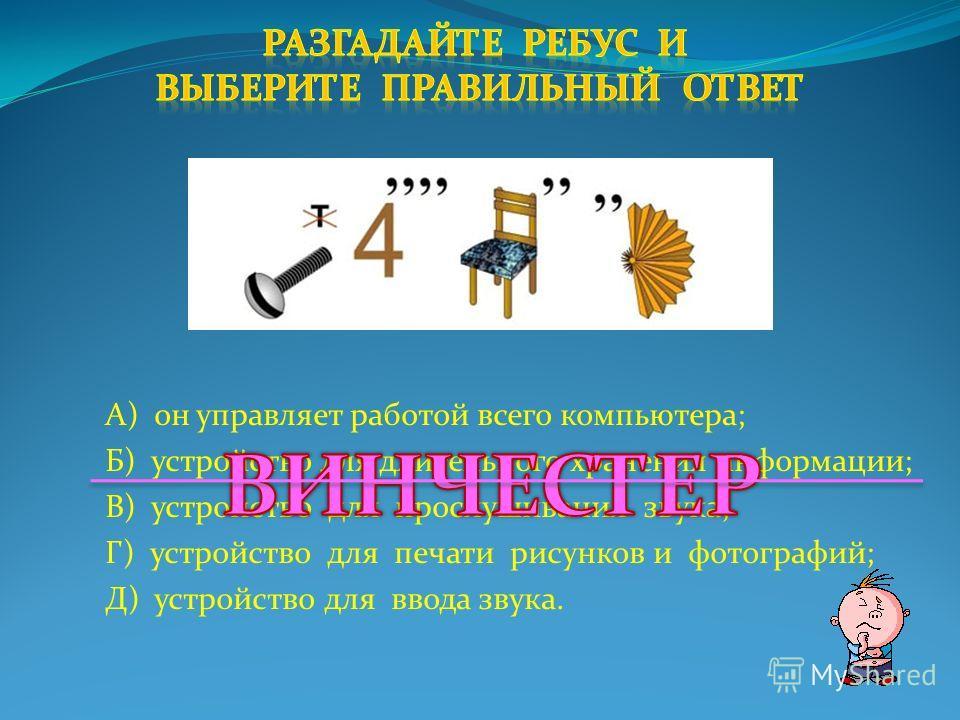 А) устройство для ввода звука; Б) устройство для длительного хранения информации; В) устройство для прослушивания звука; Г) он управляет работой всего компьютера; Д) графический объект на рабочем столе.