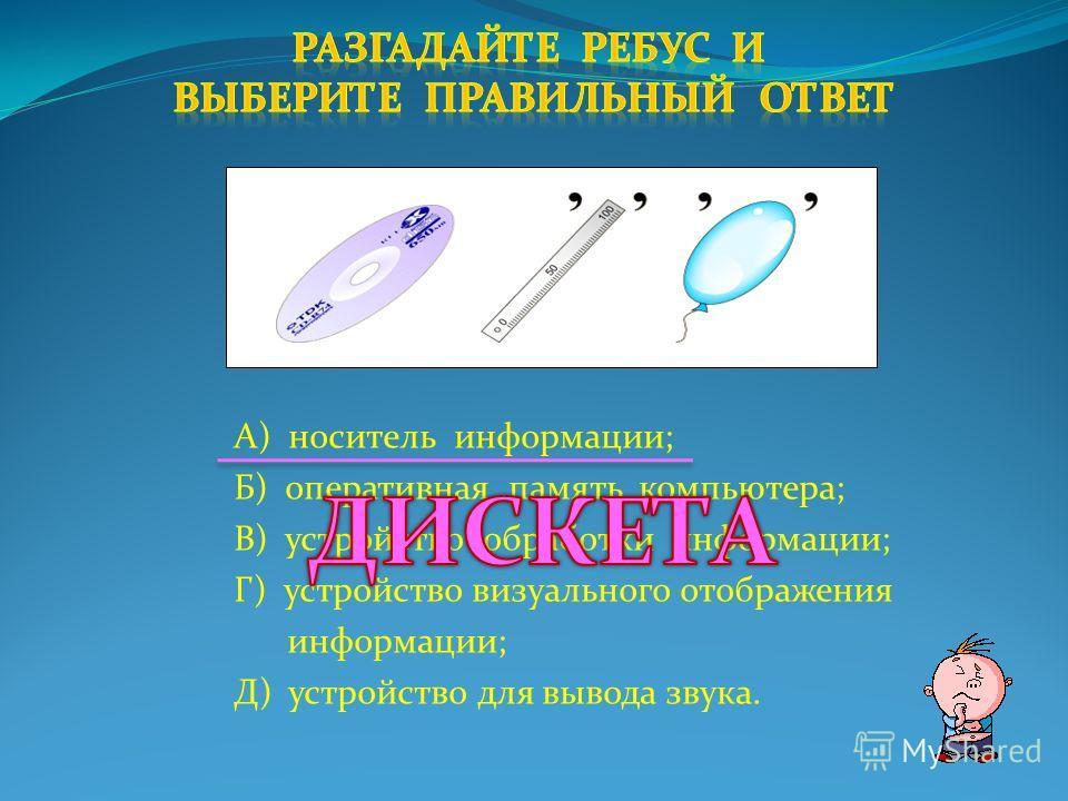 А) устройство для обмена информацией с другим компьютером; Б) устройство для сканирования рисунков; В) устройство ввода звуковой информации; Г) устройство вывода визуальной информации; Д) компьютер предназначенный для связи с другими компьютерами.