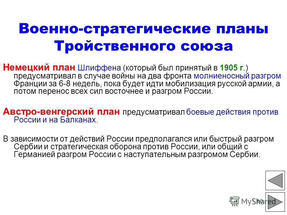 10 Военно-стратегические планы Тройственного союза Немецкий план Шлиффена (который был принятый в 1905 г.) предусматривал в случае войны на два фронта молниеносный разгром Франции за 6-8 недель, пока будет идти мобилизация русской армии, а потом пере