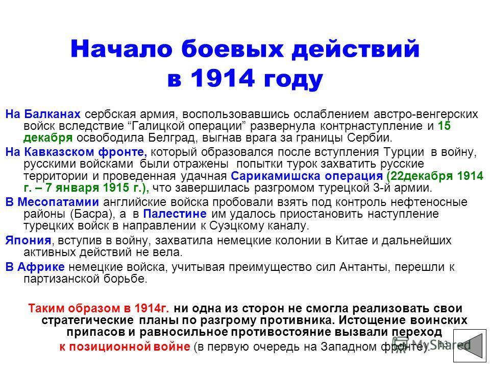13 Начало боевых действий в 1914 году На Балканах сербская армия, воспользовавшись ослаблением австро-венгерских войск вследствие Галицкой операции развернула контрнаступление и 15 декабря освободила Белград, выгнав врага за границы Сербии. На Кавказ