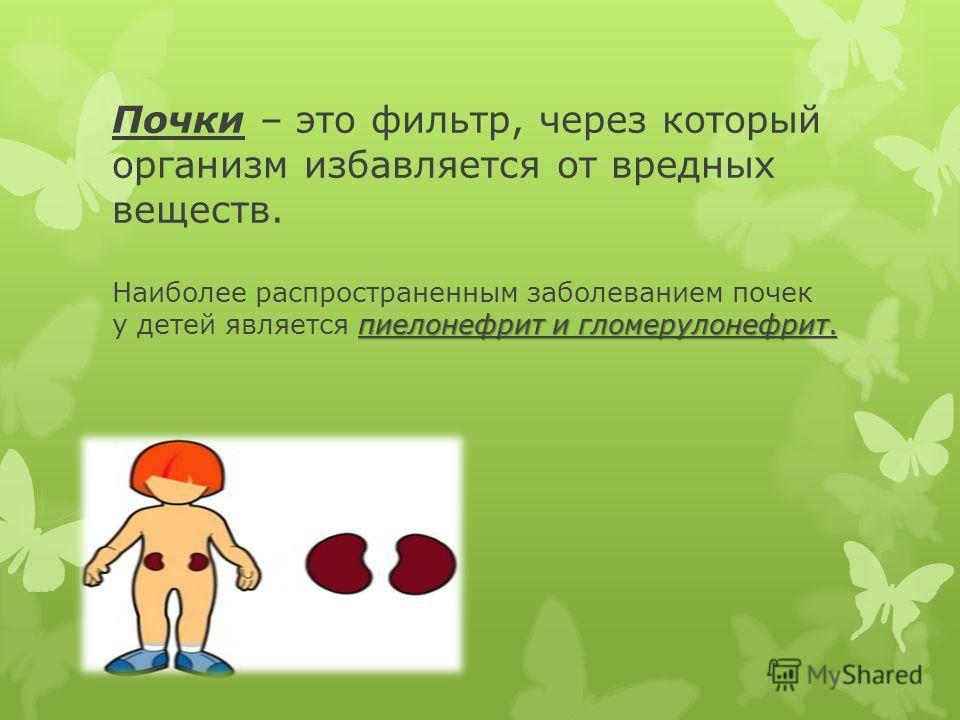 пиелонефрит и гломерулонефрит. Почки – это фильтр, через который организм избавляется от вредных веществ. Наиболее распространенным заболеванием почек у детей является пиелонефрит и гломерулонефрит.