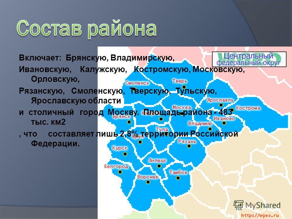 Включает: Брянскую, Владимирскую, Ивановскую, Калужскую, Костромскую, Московскую, Орловскую, Рязанскую, Смоленскую, Тверскую, Тульскую, Ярославскую области и столичный город Москву. Площадь района - 483 тыс. км2, что составляет лишь 2,8% территории Р
