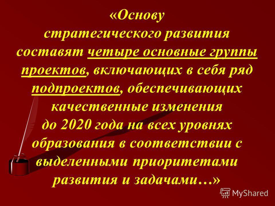 «Основу стратегического развития составят четыре основные группы проектов, включающих в себя ряд подпроектов, обеспечивающих качественные изменения до 2020 года на всех уровнях образования в соответствии с выделенными приоритетами развития и задачами