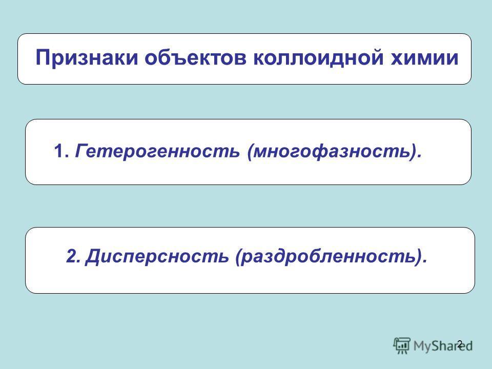 2 Признаки объектов коллоидной химии 1. Гетерогенность (многофазность). 2. Дисперсность (раздробленность).
