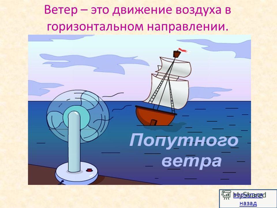 Ветер – это движение воздуха в горизонтальном направлении. вернуться назад