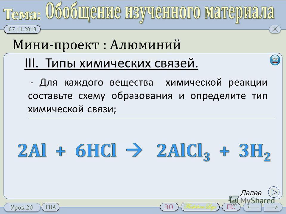 Типы химических связей.