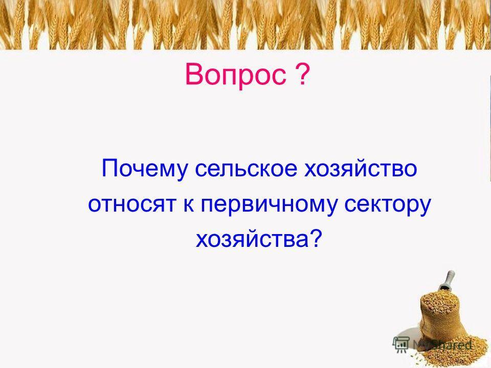 Вопрос ? Почему сельское хозяйство относят к первичному сектору хозяйства?