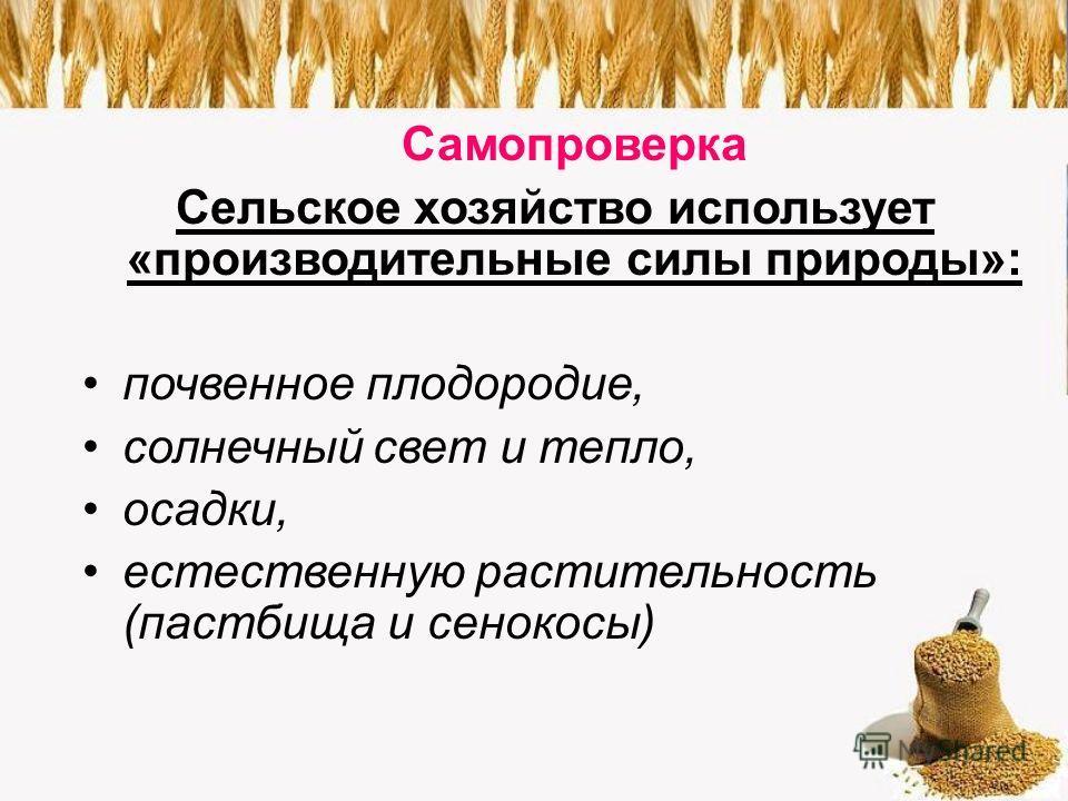 Самопроверка Сельское хозяйство использует «производительные силы природы»: почвенное плодородие, солнечный свет и тепло, осадки, естественную растительность (пастбища и сенокосы)
