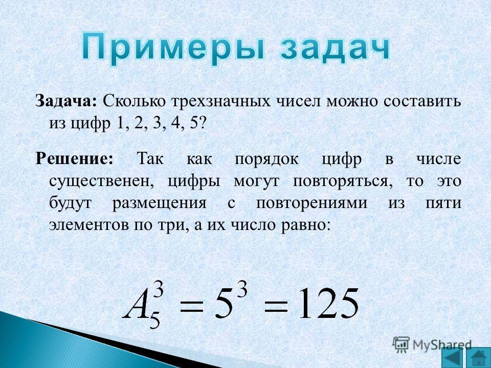Задача: Сколько трехзначных чисел можно составить из цифр 1, 2, 3, 4, 5? Решение: Так как порядок цифр в числе существенен, цифры могут повторяться, то это будут размещения с повторениями из пяти элементов по три, а их число равно: