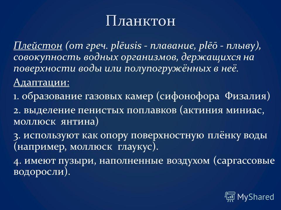Планктон Плейстон (от греч. plēusis - плавание, plēō - плыву), совокупность водных организмов, держащихся на поверхности воды или полупогружённых в неё. Адаптации: 1. образование газовых камер (сифонофора Физалия) 2. выделение пенистых поплавков (акт
