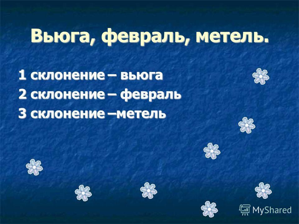 Вьюга, февраль, метель. 1 склонение – вьюга 2 склонение – февраль 3 склонение –метель