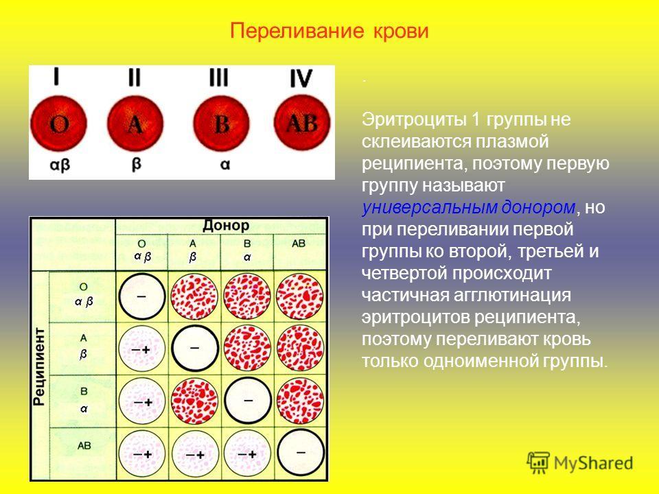 . Эритроциты 1 группы не склеиваются плазмой реципиента, поэтому первую группу называют универсальным донором, но при переливании первой группы ко второй, третьей и четвертой происходит частичная агглютинация эритроцитов реципиента, поэтому переливаю