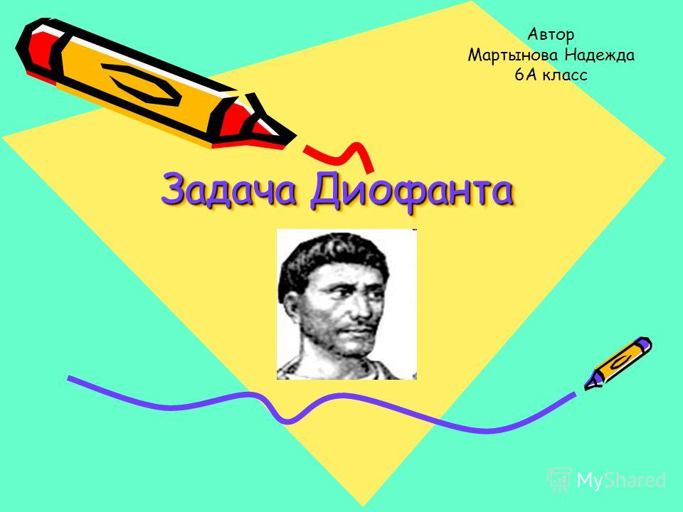 Задача Диофанта Задача Диофанта Задача Диофанта Автор Мартынова Надежда 6А класс