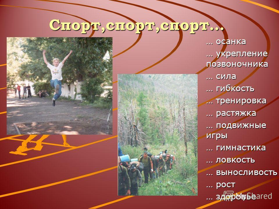 Спорт,спорт,спорт… … осанка … укрепление позвоночника … сила … гибкость … тренировка … растяжка … подвижные игры … гимнастика … ловкость … выносливость … рост … здоровье