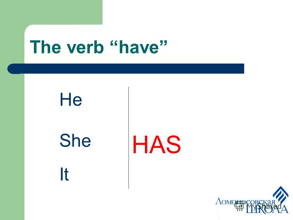 The verb have He She HAS It