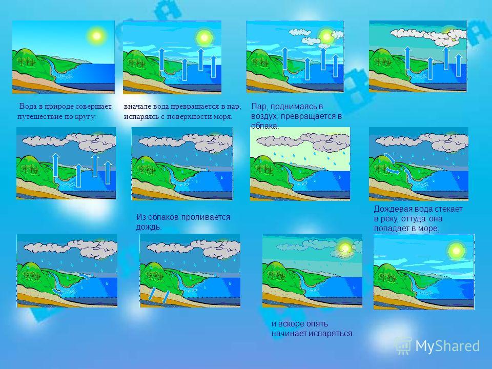 вначале вода превращается в пар, испаряясь с поверхности моря. Вода в природе совершает путешествие по кругу: Пар, поднимаясь в воздух, превращается в облака. Из облаков проливается дождь. Дождевая вода стекает в реку, оттуда она попадает в море, и в
