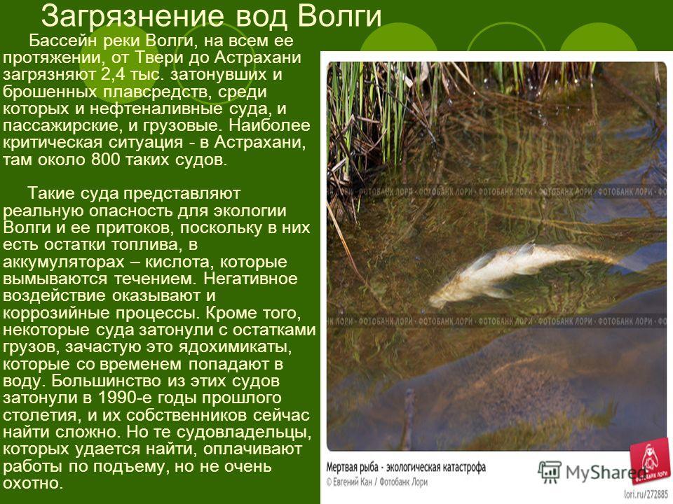 Загрязнение вод Волги Бассейн реки Волги, на всем ее протяжении, от Твери до Астрахани загрязняют 2,4 тыс. затонувших и брошенных плавсредств, среди которых и нефтеналивные суда, и пассажирские, и грузовые. Наиболее критическая ситуация - в Астрахани
