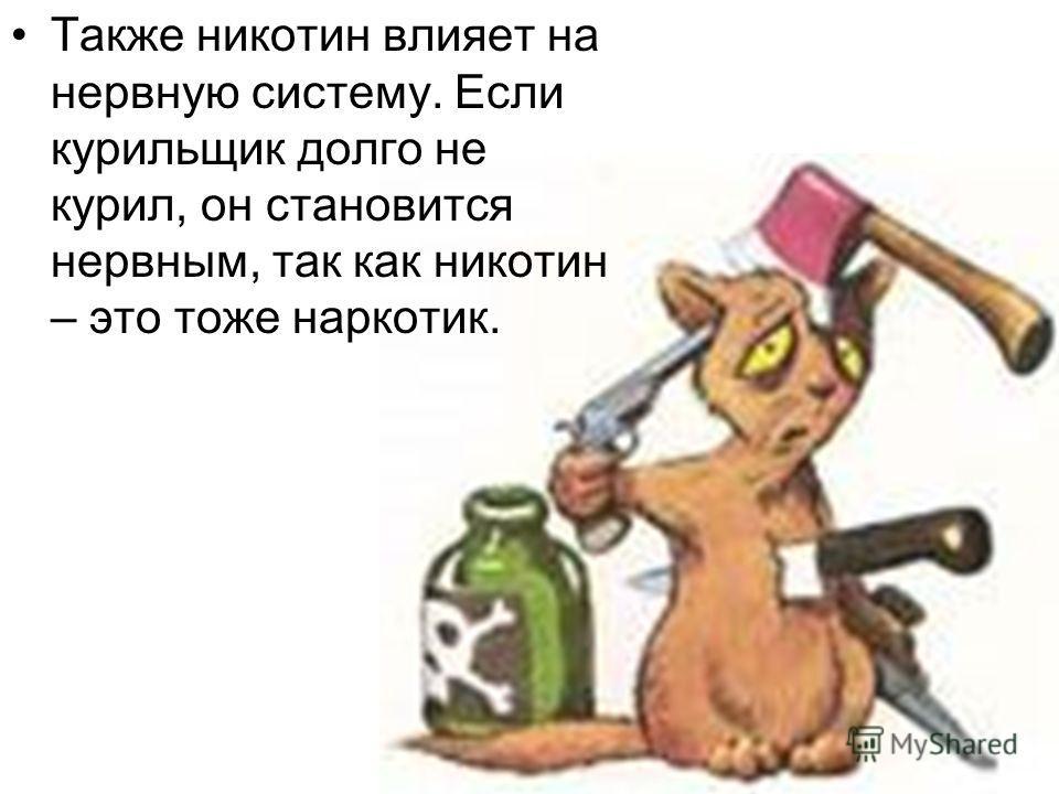 Также никотин влияет на нервную систему. Если курильщик долго не курил, он становится нервным, так как никотин – это тоже наркотик.
