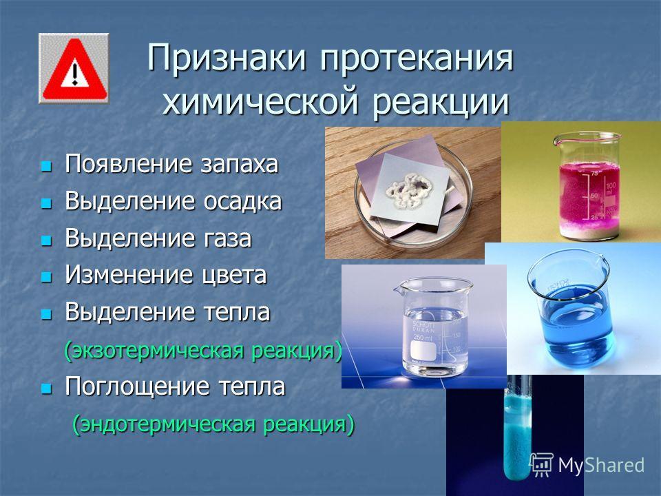 Признаки протекания химической реакции Появление запаха Появление запаха Выделение осадка Выделение осадка Выделение газа Выделение газа Изменение цвета Изменение цвета Выделение тепла Выделение тепла (экзотермическая реакция) (экзотермическая реакци