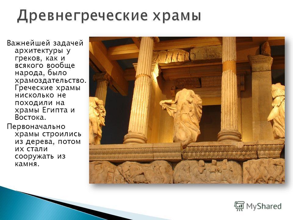 Важнейшей задачей архитектуры у греков, как и всякого вообще народа, было храмоздательство. Греческие храмы нисколько не походили на храмы Египта и Востока. Первоначально храмы строились из дерева, потом их стали сооружать из камня.