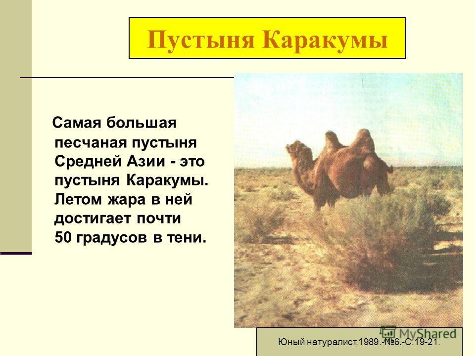 Пустыня Каракумы Самая большая песчаная пустыня Средней Азии - это пустыня Каракумы. Летом жара в ней достигает почти 50 градусов в тени. Юный натуралист,1989.-6.-С.19-21.