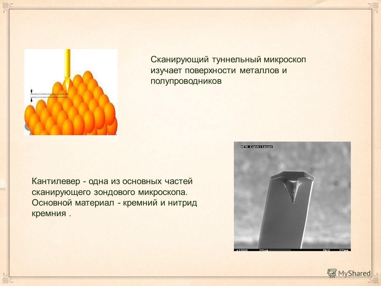 Сканирующий туннельный микроскоп изучает поверхности металлов и полупроводников Кантилевер - одна из основных частей сканирующего зондового микроскопа. Основной материал - кремний и нитрид кремния.