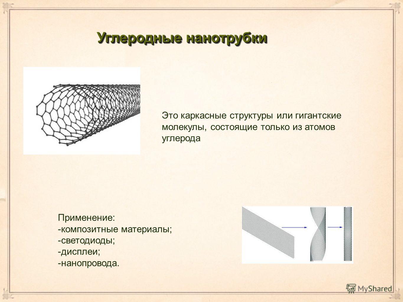 Углеродные нанотрубки Применение: -композитные материалы; -светодиоды; -дисплеи; -нанопровода. Это каркасные структуры или гигантские молекулы, состоящие только из атомов углерода