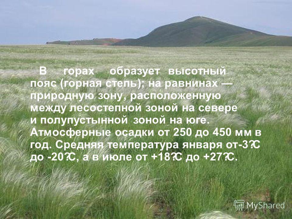 В Евразии наибольшие площади степей находятся на территории Российской Федерации, Казахстана, Украины и Монголии. В горах образует высотный пояс (горная степь); на равнинах природную зону, расположенную между лесостепной зоной на севере и полупустынн