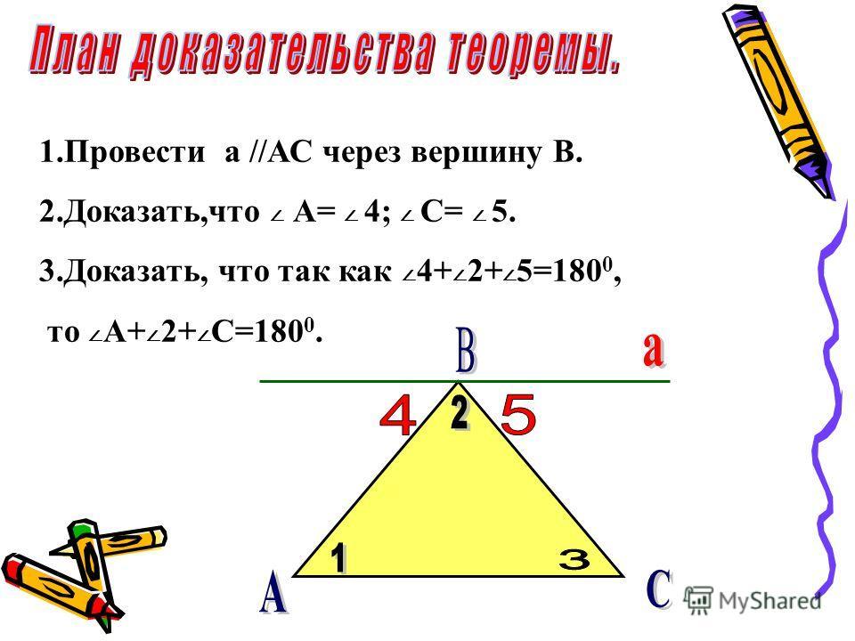 1.Провести а //АС через вершину В. 2.Доказать,что A= 4; C= 5. 3.Доказать, что так как 4+ 2+ 5=180 0, то A+ 2+ C=180 0.