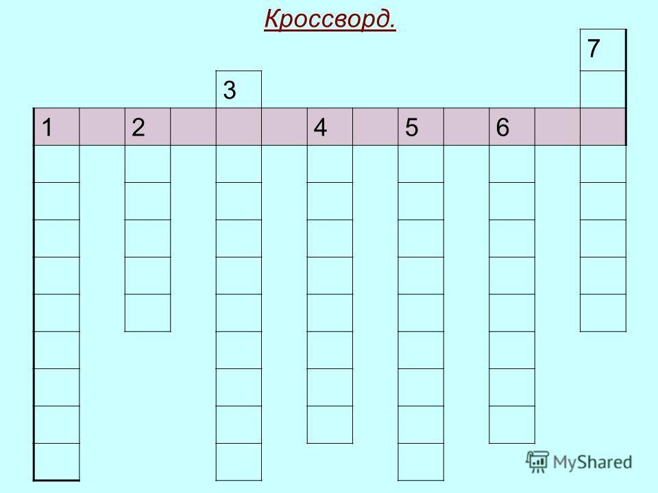 Кроссворд. 7 3 12456