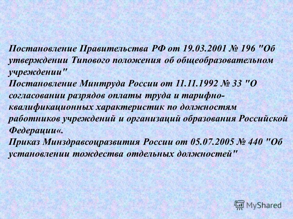 Постановление Правительства РФ от 19.03.2001 196