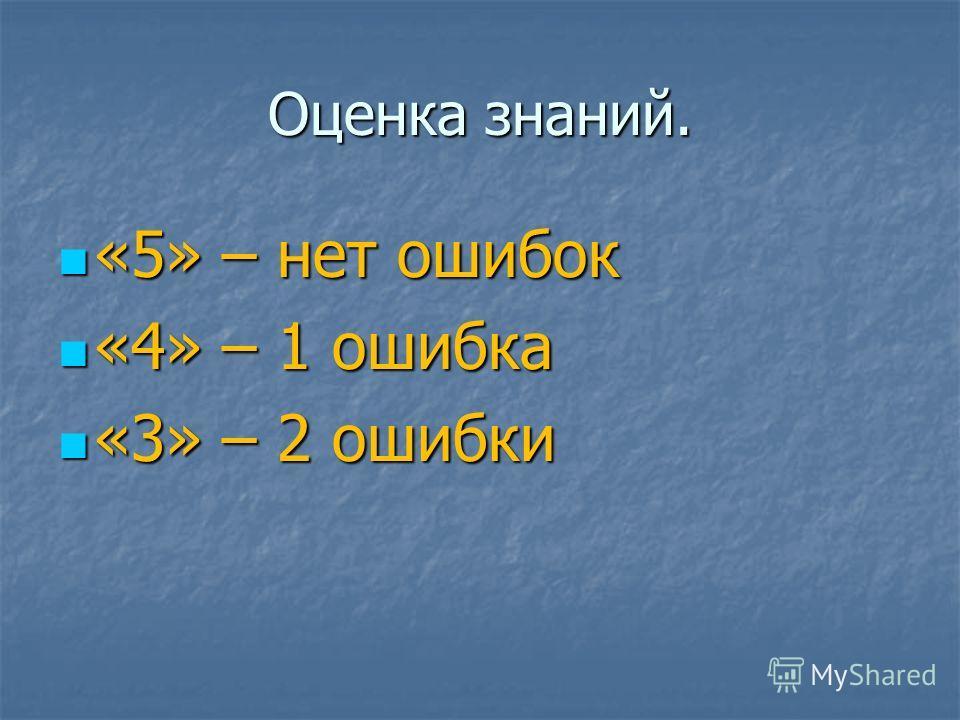 Оценка знаний. «5» – нет ошибок «5» – нет ошибок «4» – 1 ошибка «4» – 1 ошибка «3» – 2 ошибки «3» – 2 ошибки