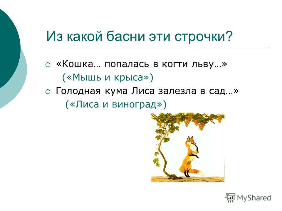 Из какой басни эти строчки? «Кошка… попалась в когти льву…» («Мышь и крыса») Голодная кума Лиса залезла в сад…» («Лиса и виноград»)
