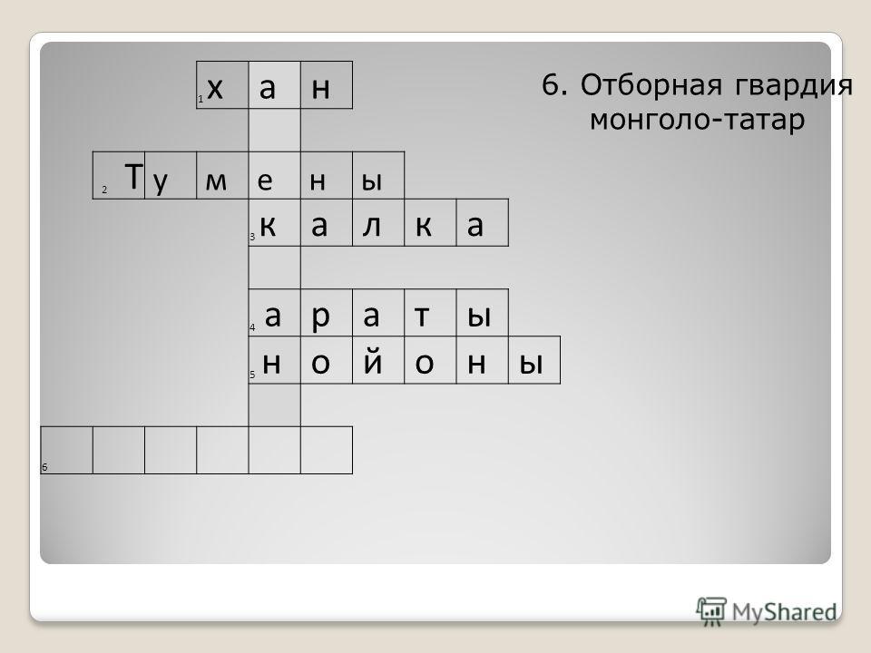 1 х а н 2 Т у м е н ы 3 к а л к а 4 а р а т ы 5 н о й о н ы 6 6. Отборная гвардия монголо-татар