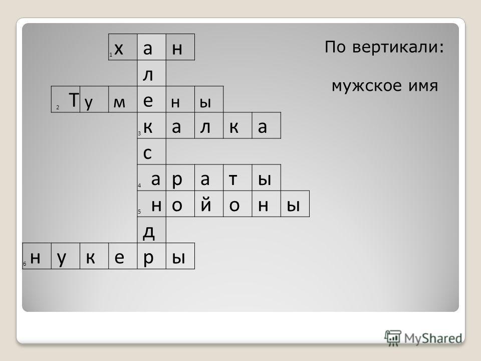 1 х а н л 2 Т у м е н ы 3 к а л к а с 4 а р а т ы 5 н о й о н ы д 6 н у к е р ы По вертикали: мужское имя