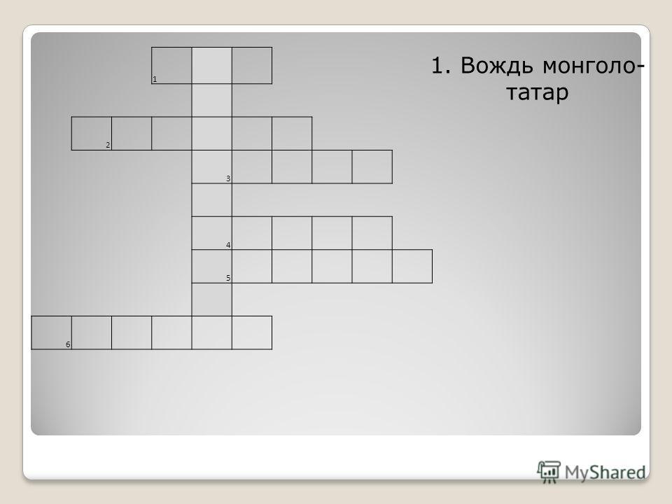 1 2 3 4 5 6 1. Вождь монголо- татар