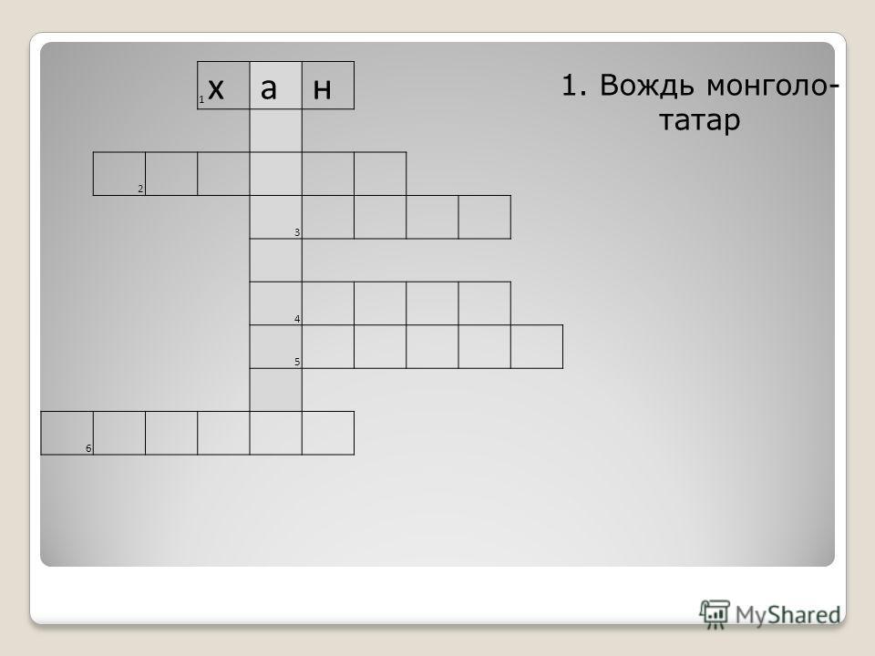 1 х а н 2 3 4 5 6 1. Вождь монголо- татар