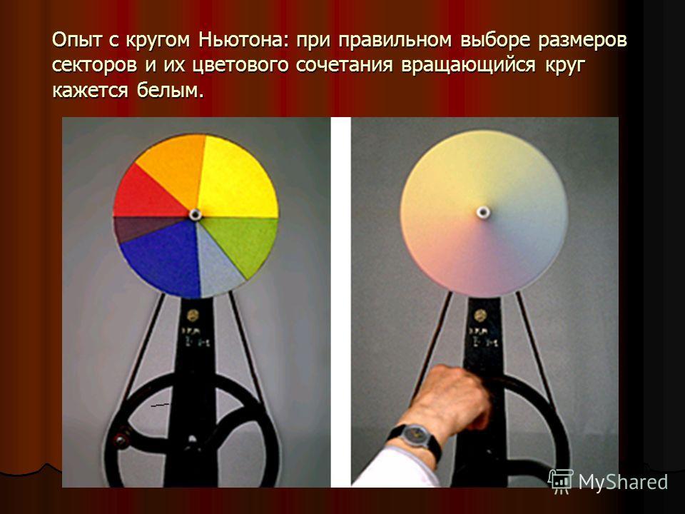 Опыт с кругом Ньютона: при правильном выборе размеров секторов и их цветового сочетания вращающийся круг кажется белым.