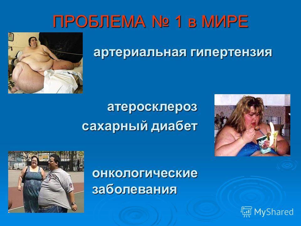 ПРОБЛЕМА 1 в МИРЕ артериальная гипертензия атеросклероз сахарный диабет онкологические заболевания