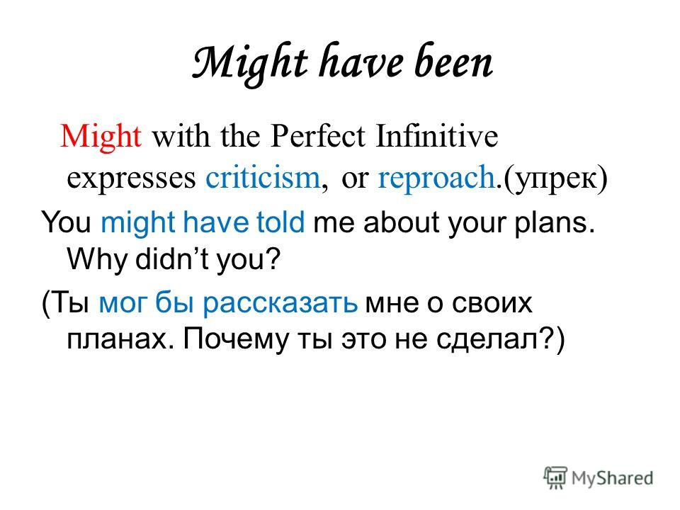 Might have been Might with the Perfect Infinitive expresses criticism, or reproach.(упрек) You might have told me about your plans. Why didnt you? (Ты мог бы рассказать мне о своих планах. Почему ты это не сделал?)