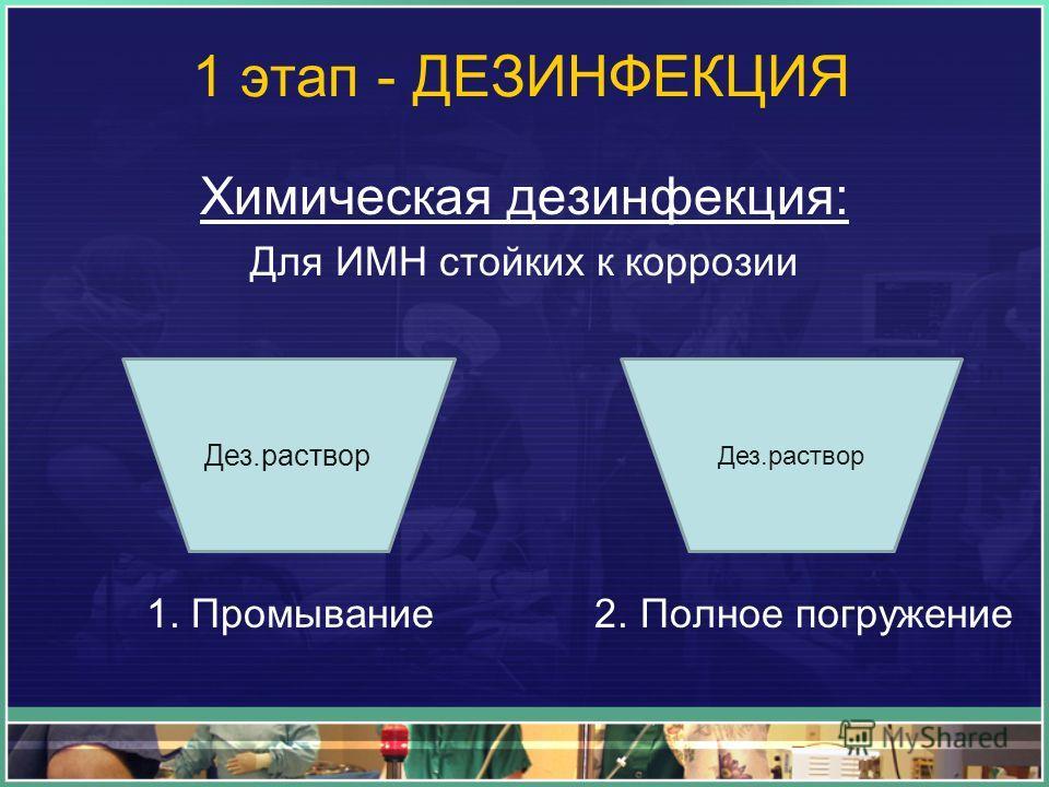 1 этап - ДЕЗИНФЕКЦИЯ Химическая дезинфекция: Для ИМН стойких к коррозии 1. Промывание 2. Полное погружение Дез.раствор